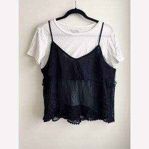 American Eagle 2 in 1 Layered Lace Cami & Tee
